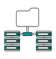 color silhouette image of server network and vector image vector image