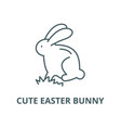 cute easter bunny line icon cute easter vector image