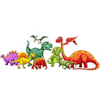different type dinosaurs in group vector image vector image