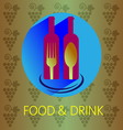 Food and drink with red wine card vector image vector image