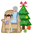 grandma and granddaughter christmas vector image vector image