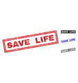 grunge save life scratched rectangle stamps vector image vector image