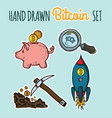 hand drawn colorful bitcoin set vector image