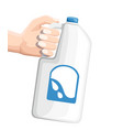 hand holding big plastic bottle with milk white vector image vector image