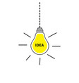 hanging light bulb icon idea text inside shining vector image vector image