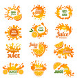 juice logo orange ink drop splashes advertising vector image vector image