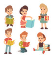 kindergarten children read book studying english vector image