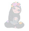 lovely family sloths mom and basmiling vector image