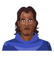 man with a long black hair and blue hoody on vector image vector image