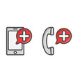 medical cell phone icons call button for vector image