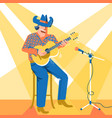 musician singer man in cowboy hat palying the vector image
