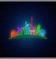 neon travel sign glowing famos landmarks vector image vector image