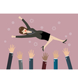 People throw a business woman in the air vector image