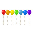 realistic detailed 3d color balloons row set vector image