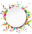 round banner confetti background applique style vector image