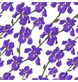 seamless pattern of diagonal purple iris flowers vector image vector image