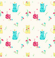 seamless pattern with cute spring cats vector image