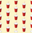 seamless soda cup pattern background with a soda vector image