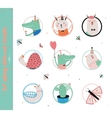 Set of birthday cards gift tags and stickers vector image