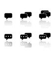 set of communication sms with reflection icons vector image vector image