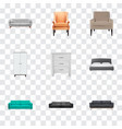 set of decoration realistic symbols with settee vector image