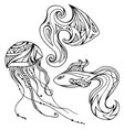 set of outline fish and jellyfish decorated boho vector image
