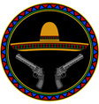 sombrero and two pistols vector image vector image