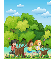 Three kids running outdoor vector image vector image
