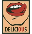 tongue licking his mouth delicious vector image vector image