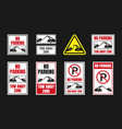 tow away zone signs no parking icon set vector image vector image