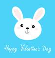 white bunny rabbit hare face head round icon vector image vector image