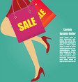 women legs with high heels running with shopping vector image vector image