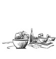 hand drawn wares sketch romantic dinner for two vector image
