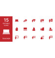 15 teacher icons vector image vector image