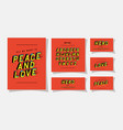 3d peace and love lettering and alphabet on red vector image vector image