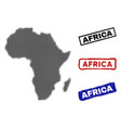 africa map in halftone dot style with grunge title vector image