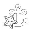 anchor marine with starfish kawaii vector image vector image