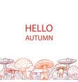 autumn postcard of mushrooms fly agarics linear vector image vector image
