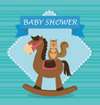 baby shower card with cute chipmunk in horse vector image