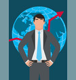 businessman standing with globe map and growth vector image