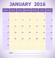 Calendar January 2016 week starts Sunday vector image