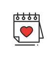 calendar line icon reminder happy valentine day vector image vector image