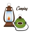 camping lamp with canteen isolated icon design vector image