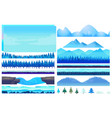 cartoon winter game nature elements set vector image vector image