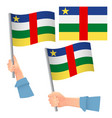 central african republic flag in hand set vector image vector image