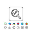 chart line icon report graph sign in magnifier vector image