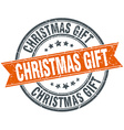 christmas gift round orange grungy vintage vector image