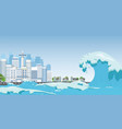 city on seashore destroyed by tsunami waves vector image vector image