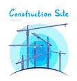 construction site tower cranes draw vector image vector image