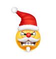 cute angry santa claus smile emoji icon emoticon vector image